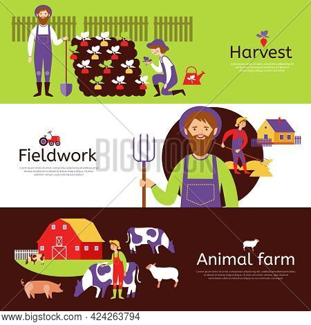 Fieldwork Harvesting And Livestock Animals Farm 3 Flat Horizontal Banners In Countryside Colors Abst