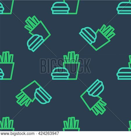 Line Burger And French Fries In Carton Package Box Icon Isolated Seamless Pattern On Blue Background