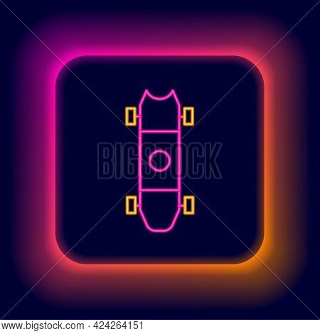 Glowing Neon Line Longboard Or Skateboard Cruiser Icon Isolated On Black Background. Extreme Sport.