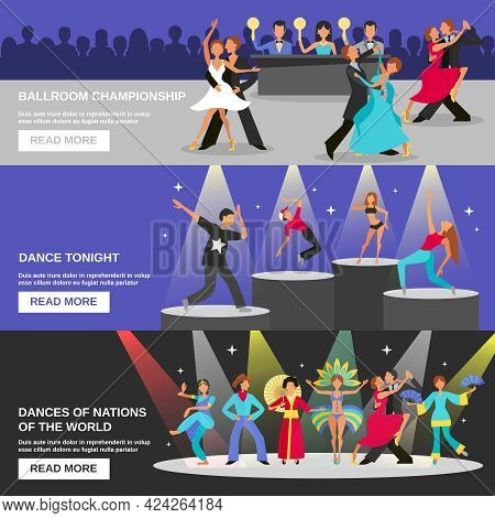 Color Flat Banners Depicting Different Type Of Dance Ballroom Championship Dance Tonight National Da