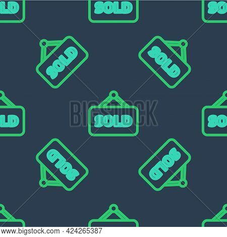 Line Hanging Sign With Text Sold Icon Isolated Seamless Pattern On Blue Background. Sold Sticker. So