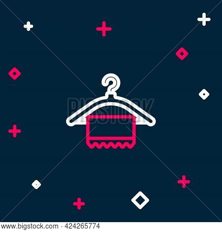 Line Hanger Wardrobe Icon Isolated On Blue Background. Clean Towel Sign. Cloakroom Icon. Clothes Ser