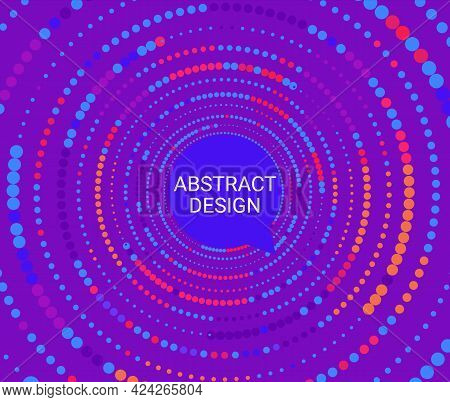 Abstract Colorful Dotted Circles. Dots In Circular Form From Big To Small. Bright Color Halftone Bac