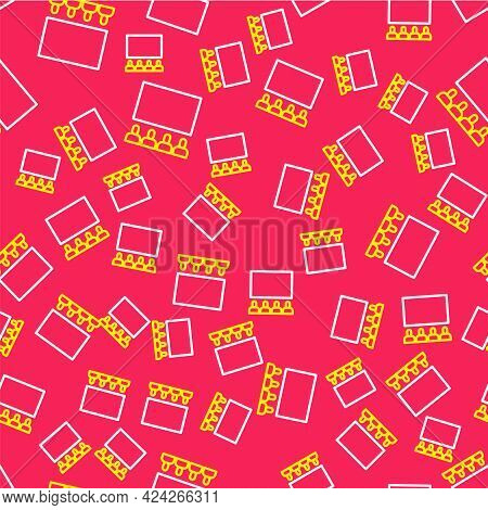 Line Cinema Auditorium With Screen Icon Isolated Seamless Pattern On Red Background. Vector