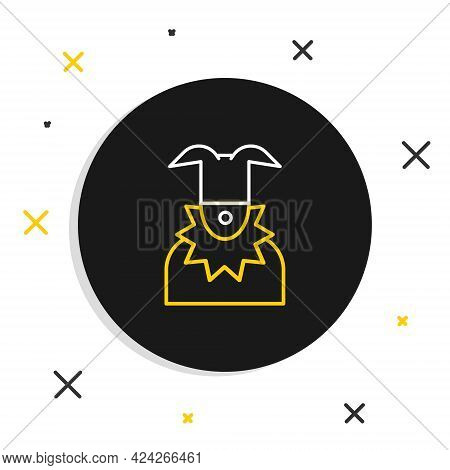 Line Joker Head Icon Isolated On White Background. Jester Sign. Colorful Outline Concept. Vector