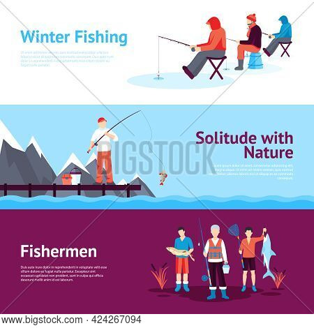 Solitude And Nature Outdoor Activities 3 Flat Horizontal Banners Set With Ice Fishing Abstract Isola