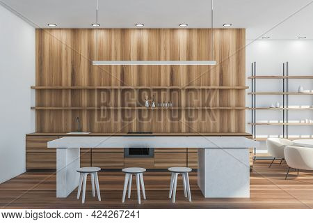 Minimalist Kitchen Set Interior With Concrete White Table And Three Bar Chairs On Parquet Floor. Kit