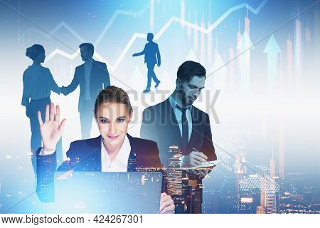 Office Woman Waving Hand, Video Call. Business People Network And Handshake. Stock Market Changes Wi