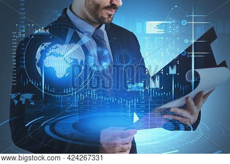 Man Hands With Business Report, Stock Market Statistics, Blue Glowing Hologram With Candlesticks, Bi