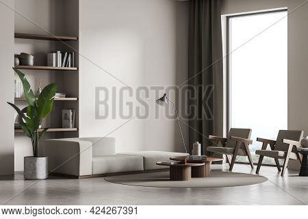 Living Room Interior With Two Armchairs And Sofa On Concrete Floor, Side View, Lamp And Window. Libr