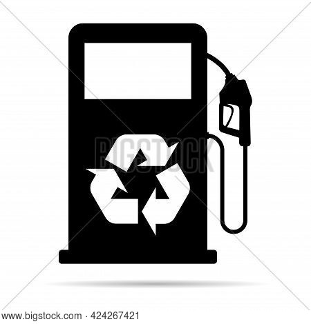 Gas Station Icon With Shadow, Nozzle Isolated Logo Vector, Pump Gasoline Design, Oil Power Energy Sy