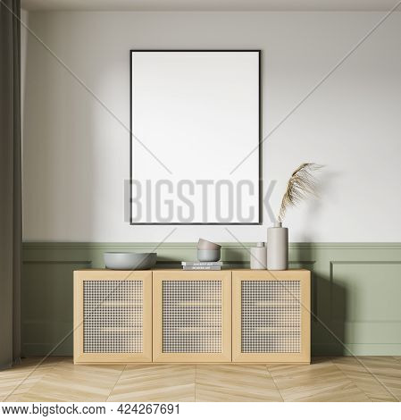 Green And White Art Room Interior With Wooden Commode With Books And Vase On Parquet Floor. One Blan