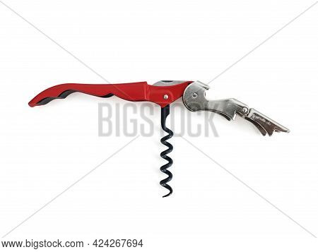 Close Up Of Wine Bottle Opener. Stainless Steel Corkscrew With Double Hinge On White Background. Aer