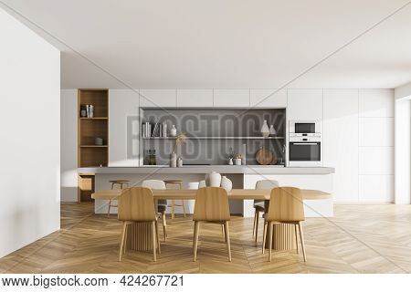 Light Kitchen Room With Wooden Table And Six Chairs, Front View, Parquet Floor. Cooking Set Interior