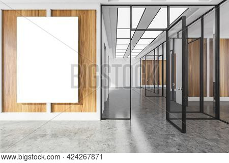 Office Hall Interior With Grey Floor, One Mockup Canvas Banner On Wooden Wall. Office Room With Long