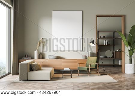 Modern Living Room Interior With Couch And Seat, Wooden Drawer On Parquet Floor. Minimalist Relaxing
