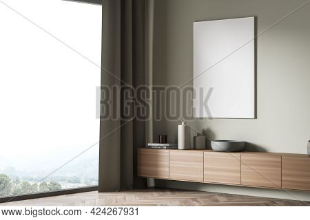 Exhibition Art Room Interior With Wooden Commode Near Panoramic Window, Side View, Books And Vase On