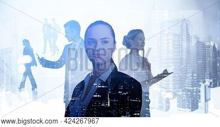 Double Exposure Of Smiling Positive Young Professionals. Silhouettes Of Diverse Business People New