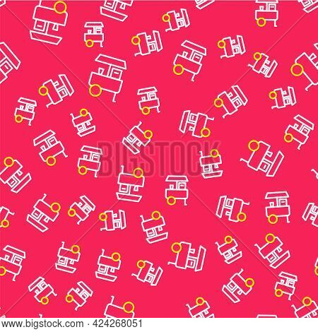 Line Fast Street Food Cart Icon Isolated Seamless Pattern On Red Background. Urban Kiosk. Vector