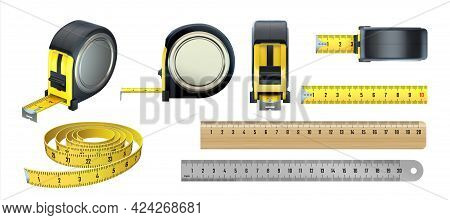 Measuring Tools. Realistic Instruments For Length Measurement. 3d Tailor Tape. Isolated Metal Or Woo