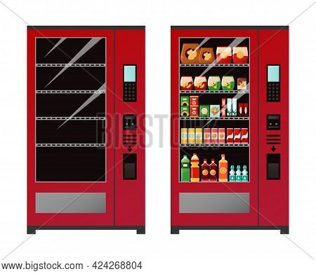 Vending Machine. Empty And Full Automat Of Snacks Or Drinks. Equipment For Sale Of Food. Device For