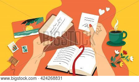 Write Letter. Hands Holding Opened Paper Mail. Envelope With Stamp And Postcard. Person Reads Greeti