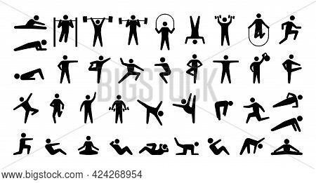 Human Sport Icons. Training Persons Silhouettes. Signs Of People Doing Fitness And Weightlifting Exe