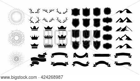 Black Icons. Crowns And Shields Silhouettes. Blank Ribbons Or Labels. Mountains Peaks Contours. Antl