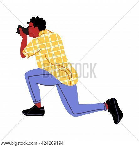 Paparazzi. Cartoon Photographer Taking Pictures With Professional Camera. Isolated Man In Squat Pose