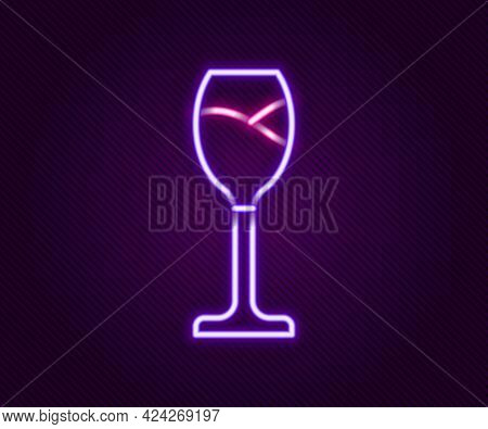 Glowing Neon Line Wine Glass Icon Isolated On Black Background. Wineglass Icon. Goblet Symbol. Glass