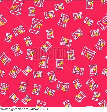 Line Decree, Paper, Parchment, Scroll Icon Icon Isolated Seamless Pattern On Red Background. Vector
