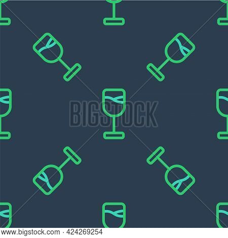 Line Wine Glass Icon Isolated Seamless Pattern On Blue Background. Wineglass Icon. Goblet Symbol. Gl