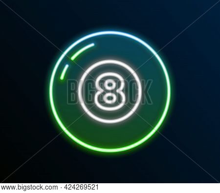 Glowing Neon Line Billiard Pool Snooker Ball Icon Isolated On Black Background. Colorful Outline Con