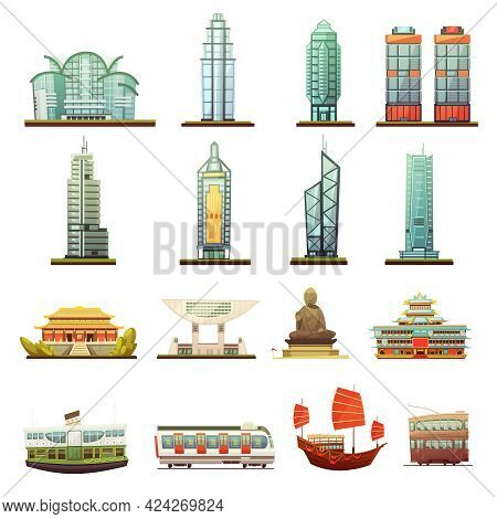 Hong Kong City Landmarks Temple Buddha Statue And Transportation Elements Retro Cartoon Icons Collec