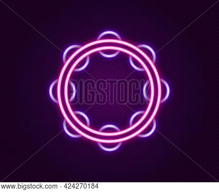 Glowing Neon Line Musical Instrument Percussion Tambourine, With Metal Plates Icon Isolated On Black