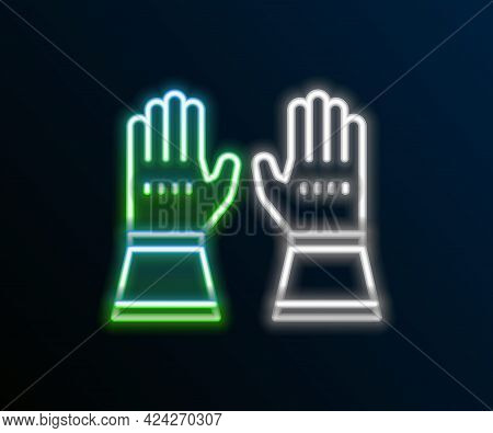 Glowing Neon Line Firefighter Gloves Icon Isolated On Black Background. Protect Gloves Icon. Colorfu