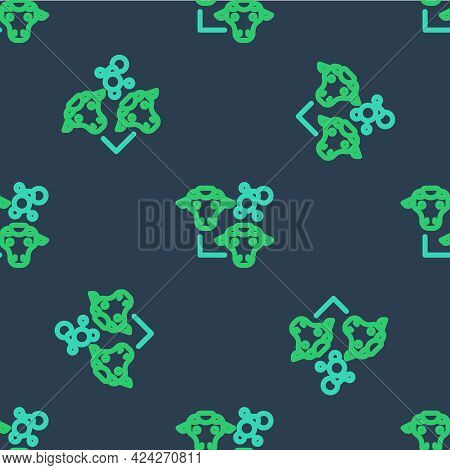 Line Cloning Icon Isolated Seamless Pattern On Blue Background. Genetic Engineering Concept. Vector