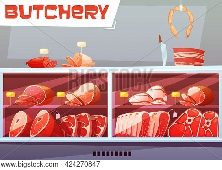 Storefront Of Butchery Shop Design Concept With Price Labels And Meat Products Made From Pork And Be