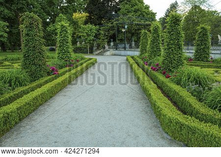 Beautiful And Well-kept Gardens At The Royal Castle. Ancient Castle And Royal Park Near The Castle