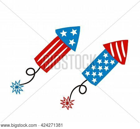 Firecracker By July 4th In National Colors Of United States Of America. Petard For Usa Independence