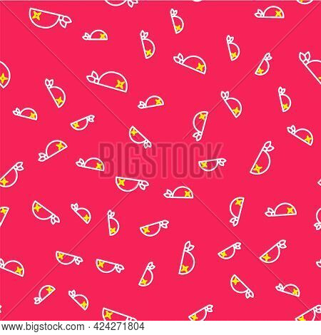 Line Pirate Bandana For Head Icon Isolated Seamless Pattern On Red Background. Vector