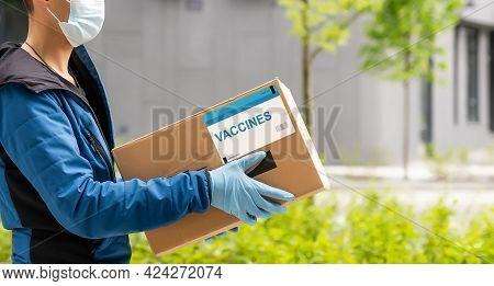 Delivery Medical Box Of Vaccines From Courier Man Receive Package From Professional Delivery Coronav