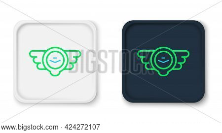 Line Aviation Emblem Icon Isolated On White Background. Military And Civil Aviation Icons. Flying Em