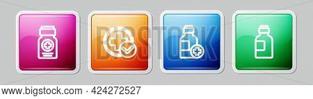 Set Line Medicine Bottle, Cross Hospital Medical, Bottle Of Medicine Syrup And . Colorful Square But