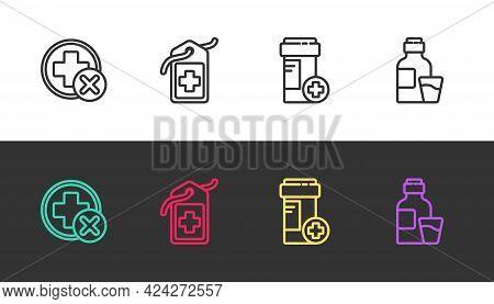 Set Line Cross Hospital Medical, Tag, Medicine Bottle And Bottle Of Medicine Syrup On Black And Whit