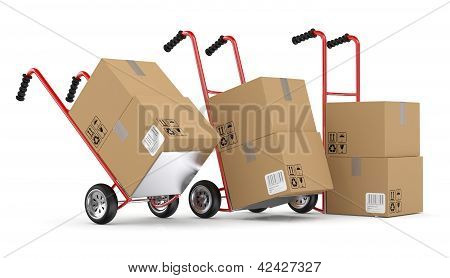 Hand Trucks And Carboard Boxes. 3D Model Isolated On White Background