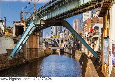 Tokyo, Japan - February 17: Industrial Tokyo. View Of The Train Junction Near Ochanomizu Railway Sta