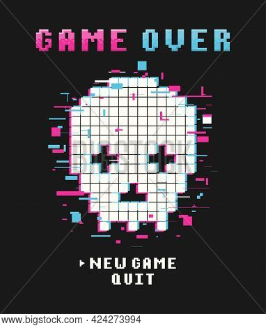 Gamers T-shirt Design With Glitch Pixel Skull And Pixel Text And Slogan. Typography Graphics For Tee