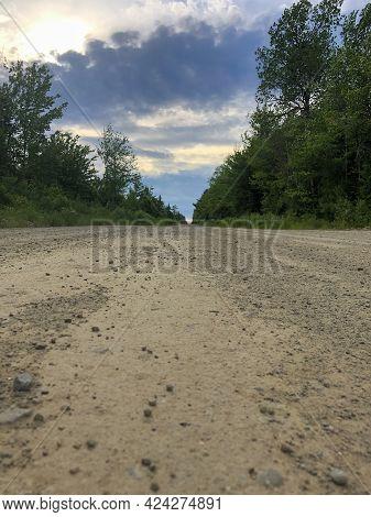 Long Lonely Dirt Road In Rural New Brunswick Canada