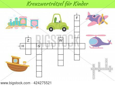 Crossword For Kids In German With Pictures Of Transport. Educational Game For Study German Language